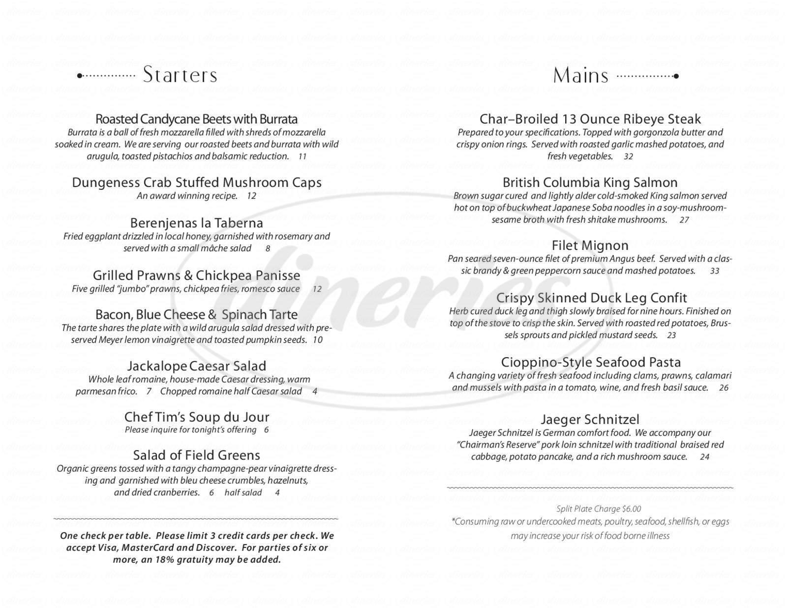 menu for Tim Garling's Jackalope Grill