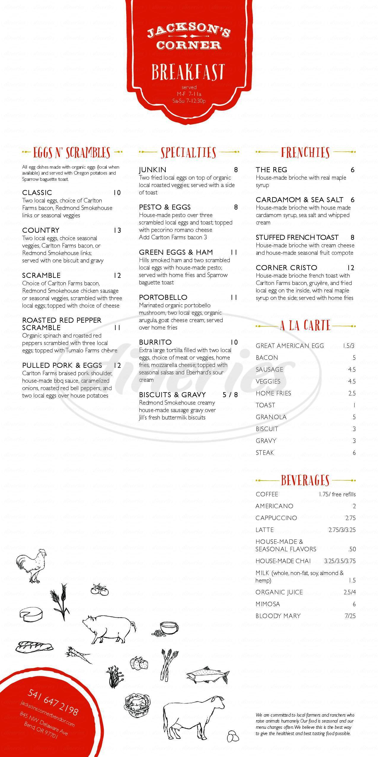 menu for Jackson's Corner