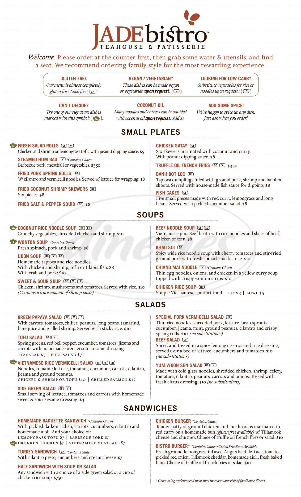 menu for Jade Bistro Teahouse & Patisserie