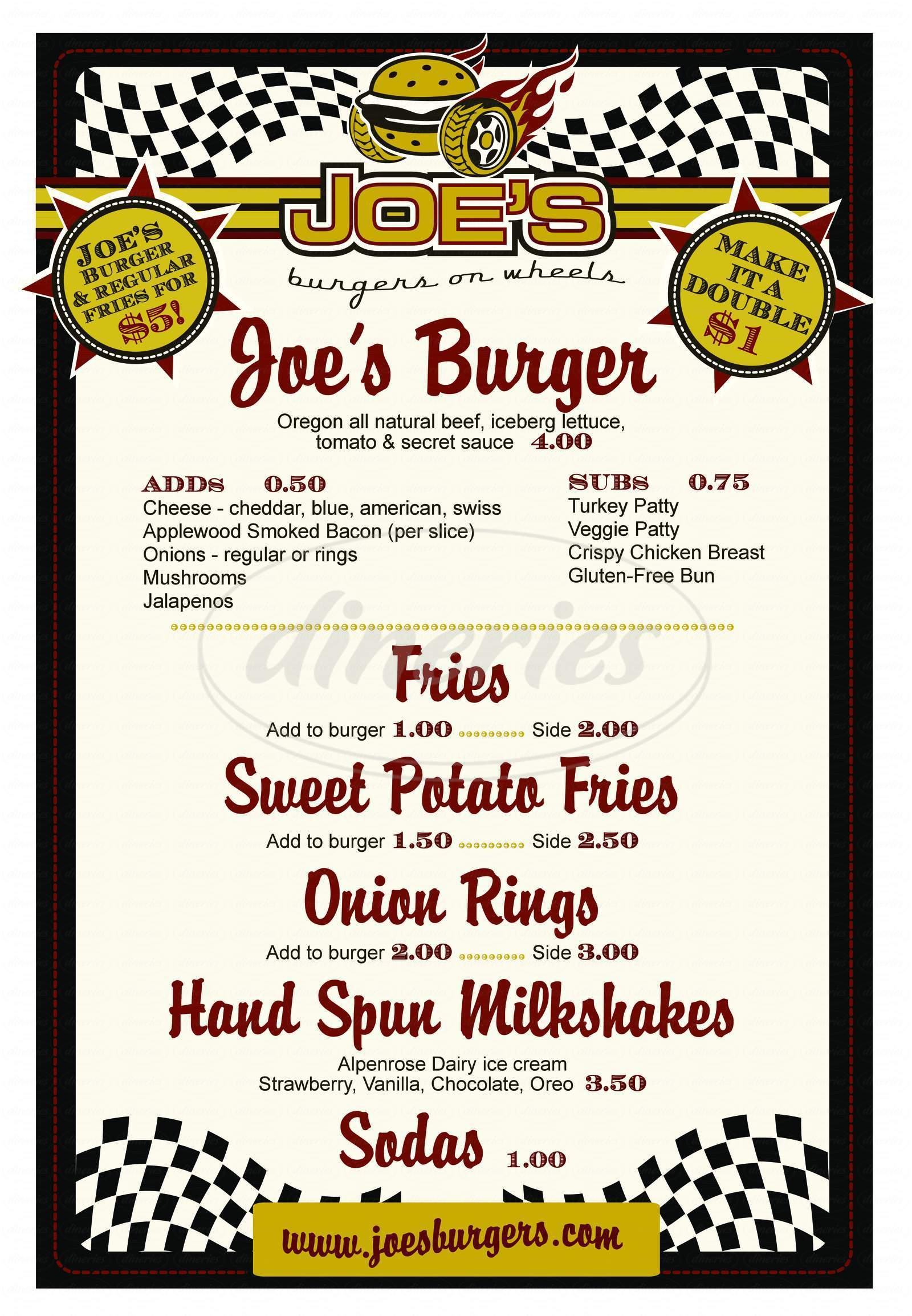 menu for Joe's Burgers & Bar