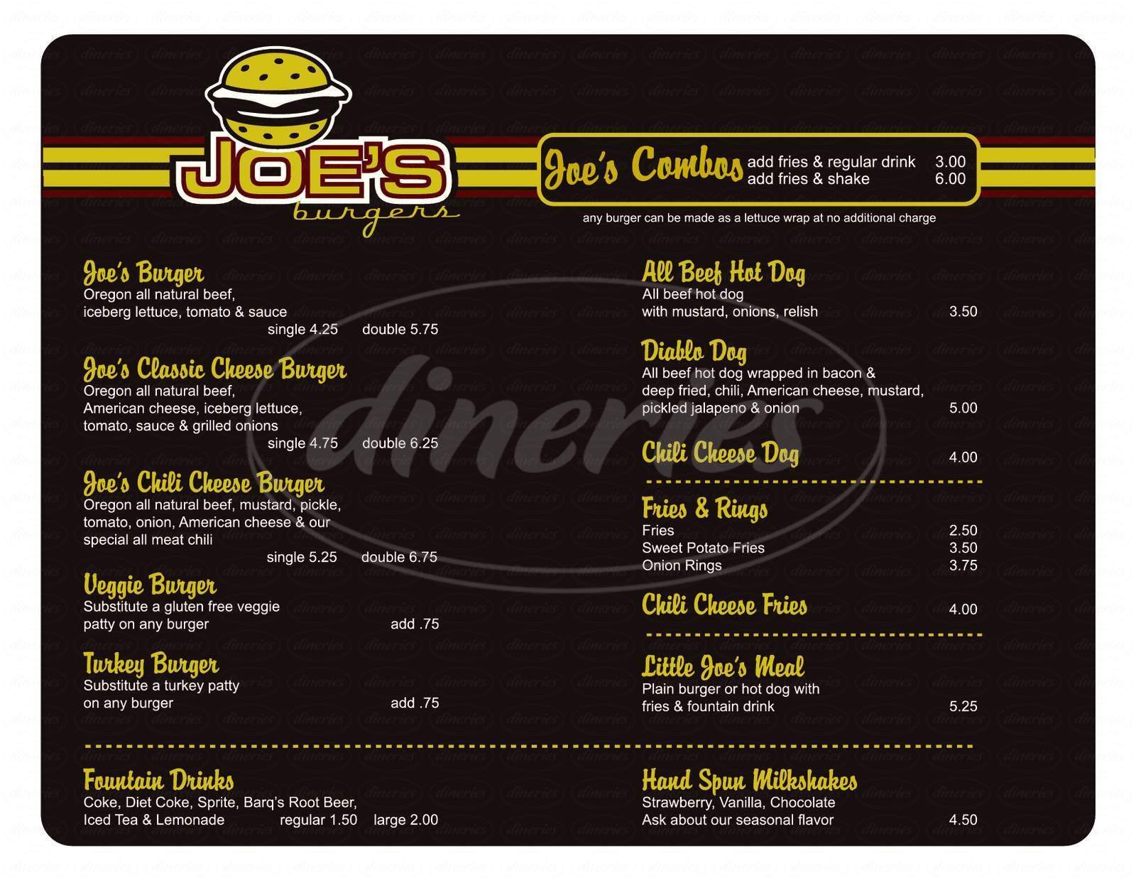 menu for Joe's Burgers