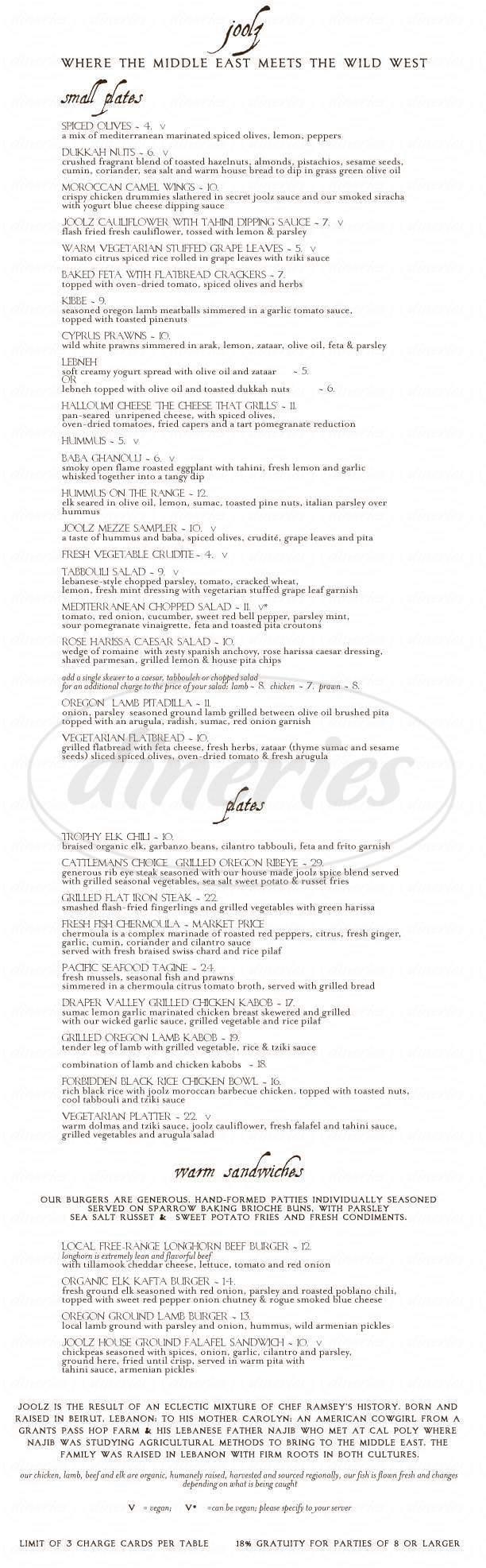 menu for Joolz