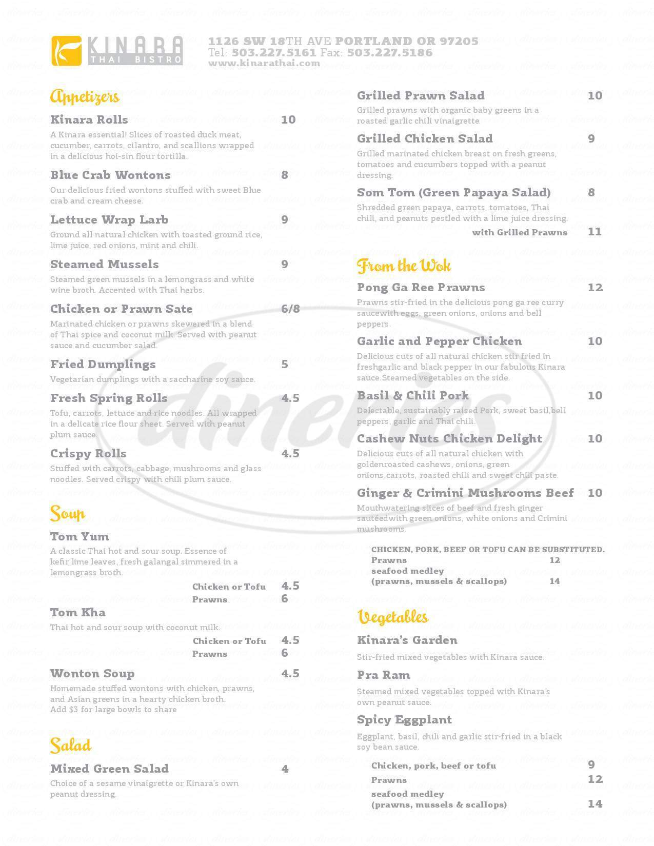 menu for Kinara Thai Bistro