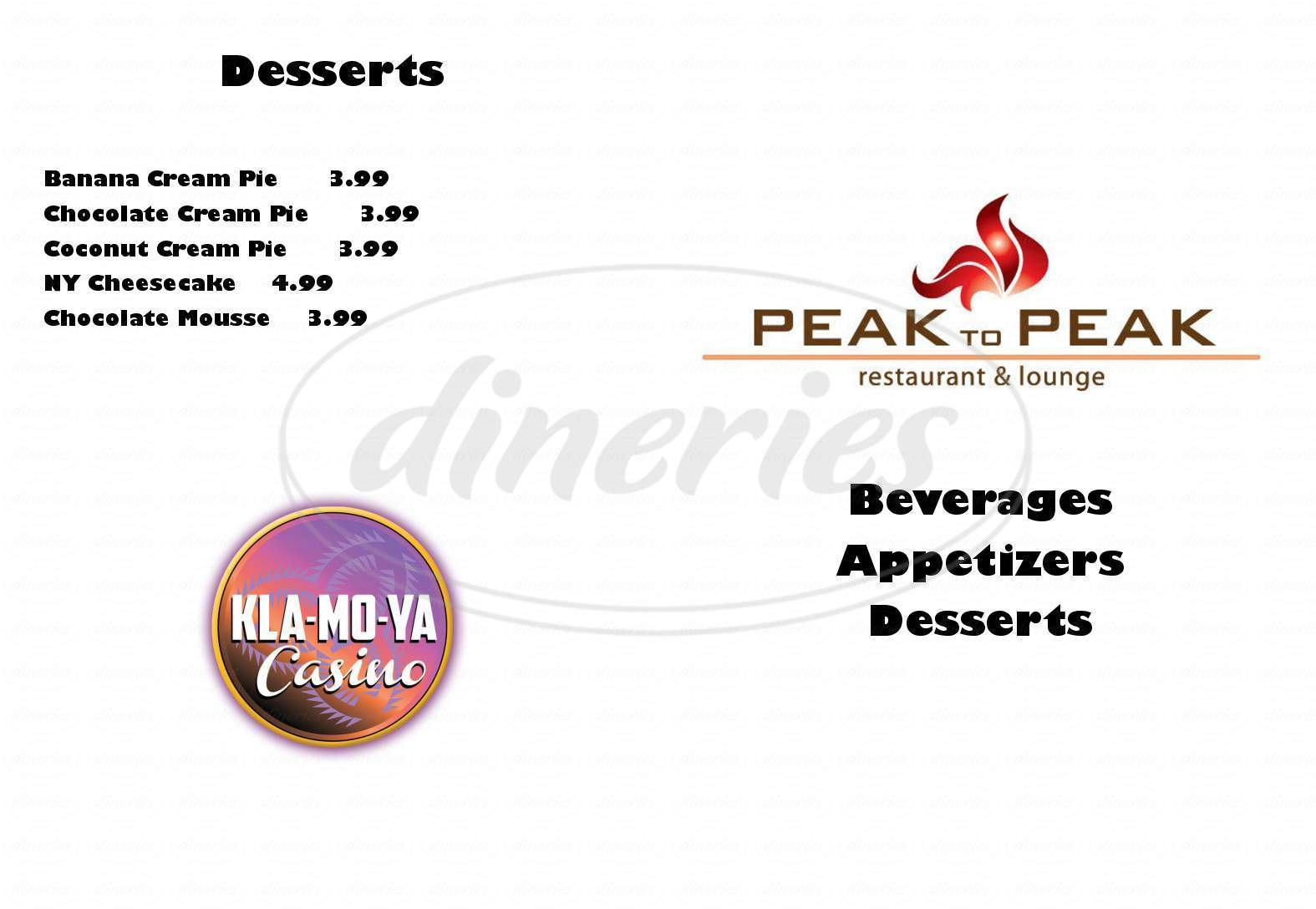 menu for Peak To Peak Restaurant