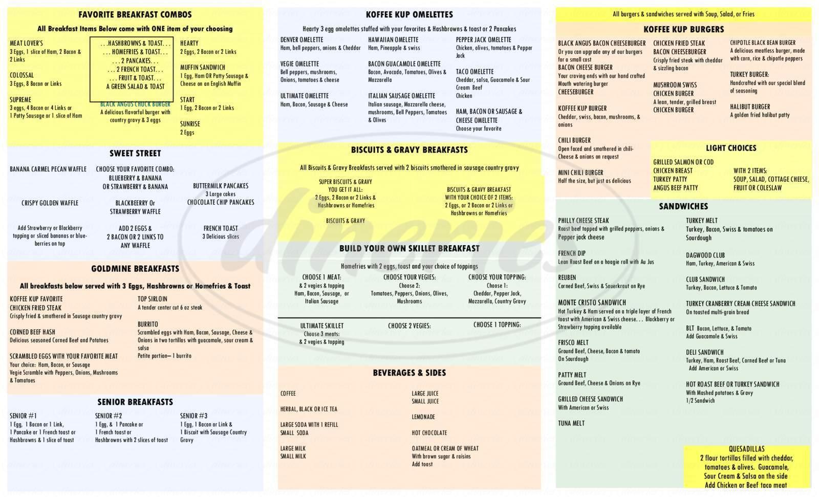 menu for Koffee Kup