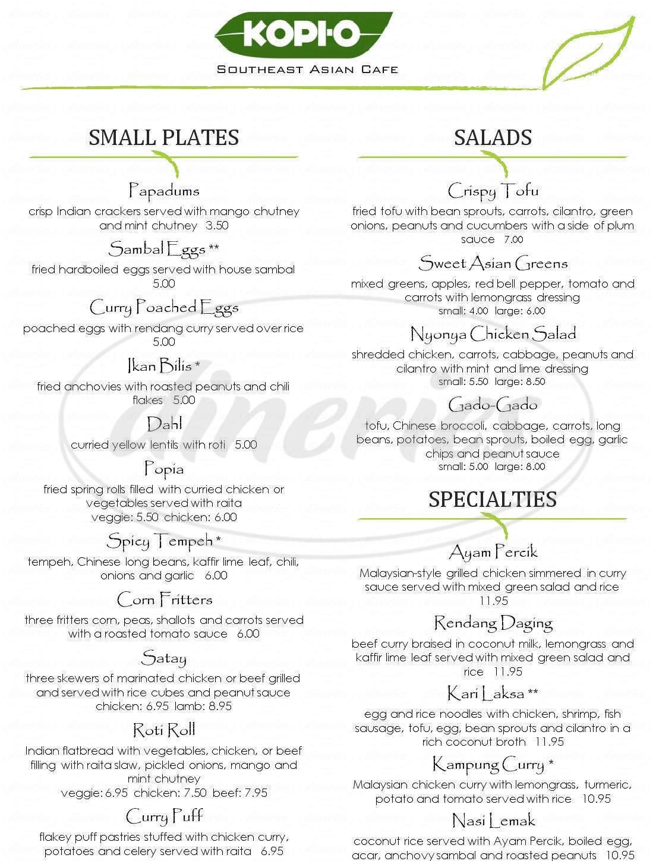 menu for Kopi-O