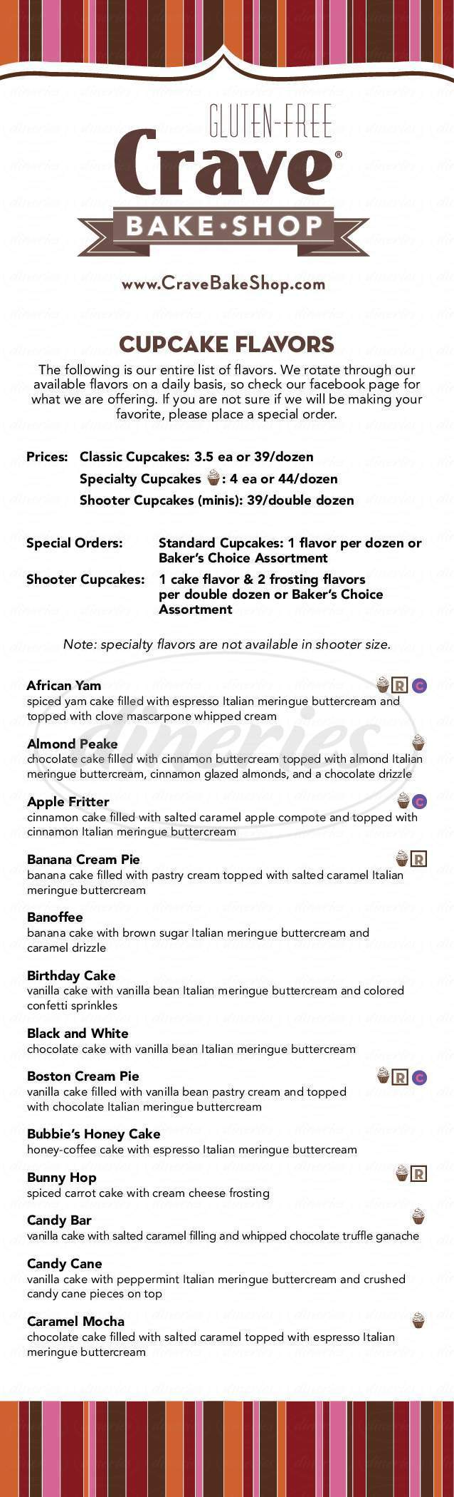 menu for Kyras Bake Shop