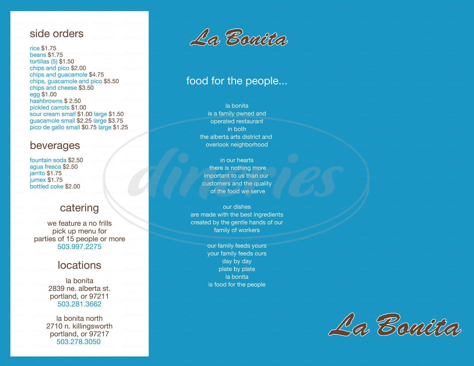 menu for La Bonita