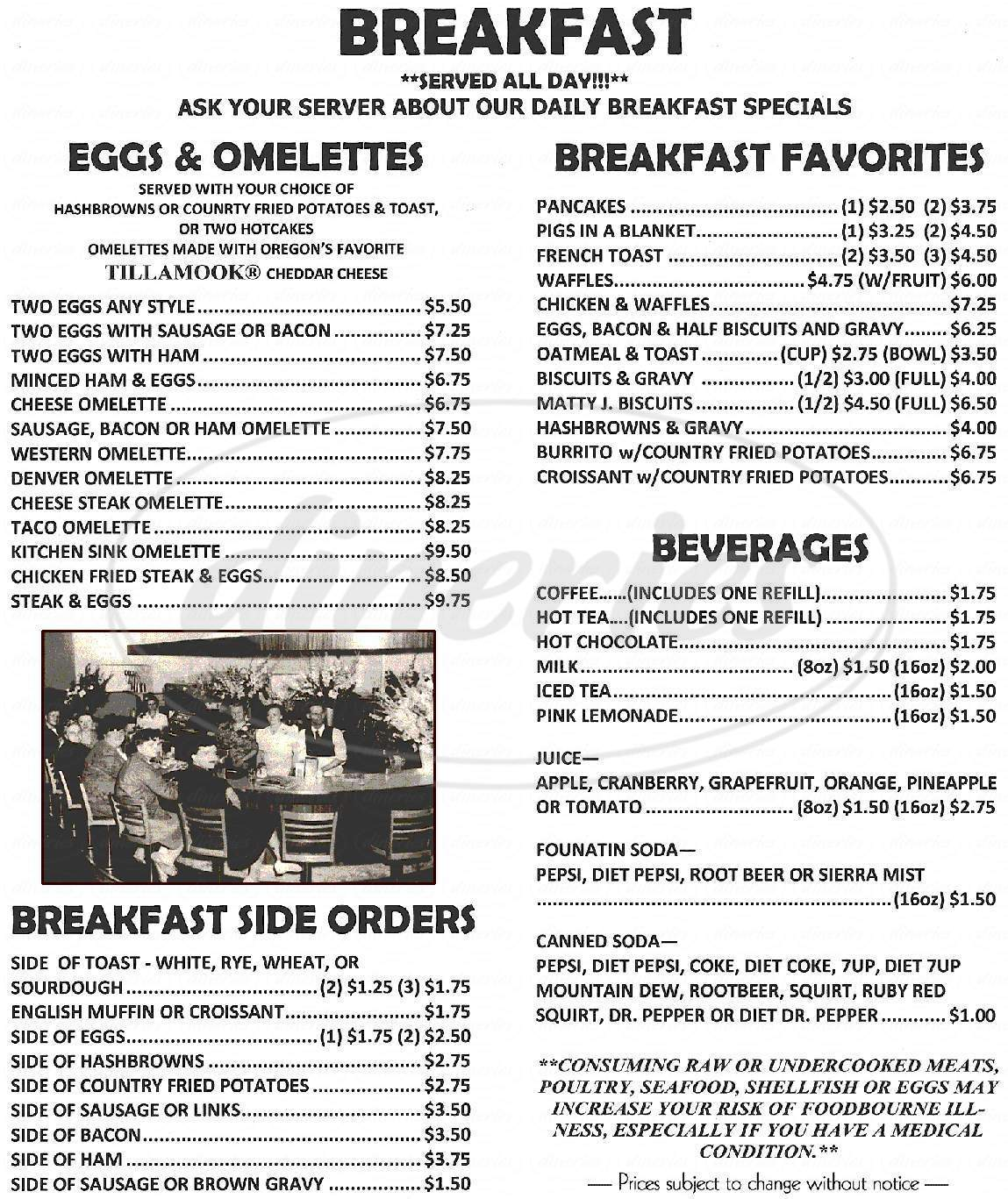 menu for Labor Temple Diner