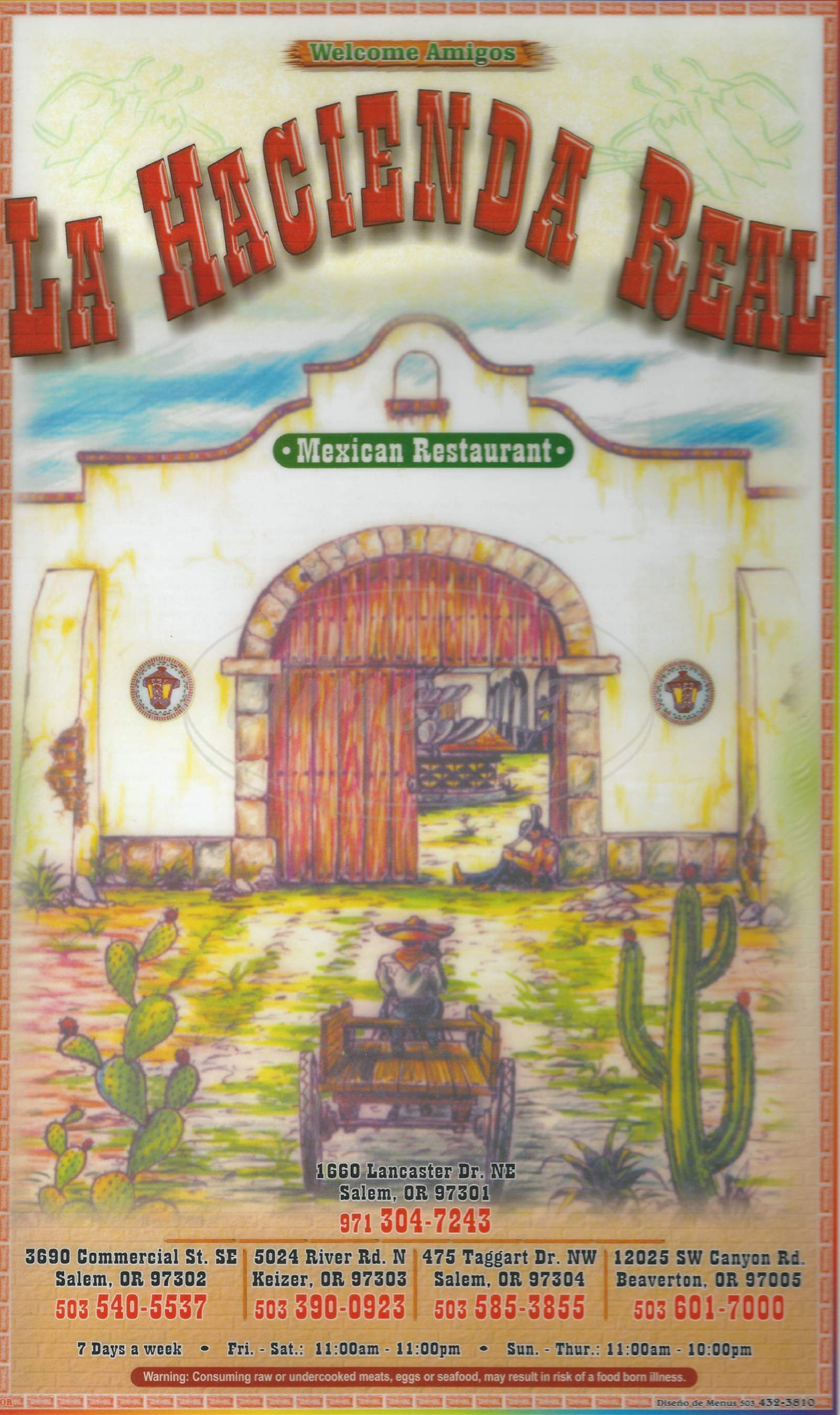 menu for La Hacienda Real