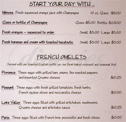 menu for La Maison Bakery and Cafe