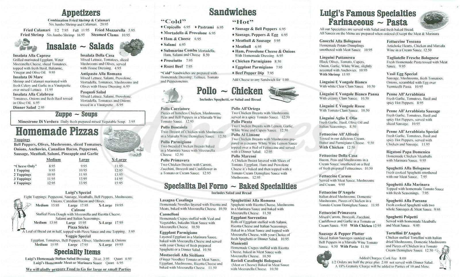 menu for Luigis D Italia