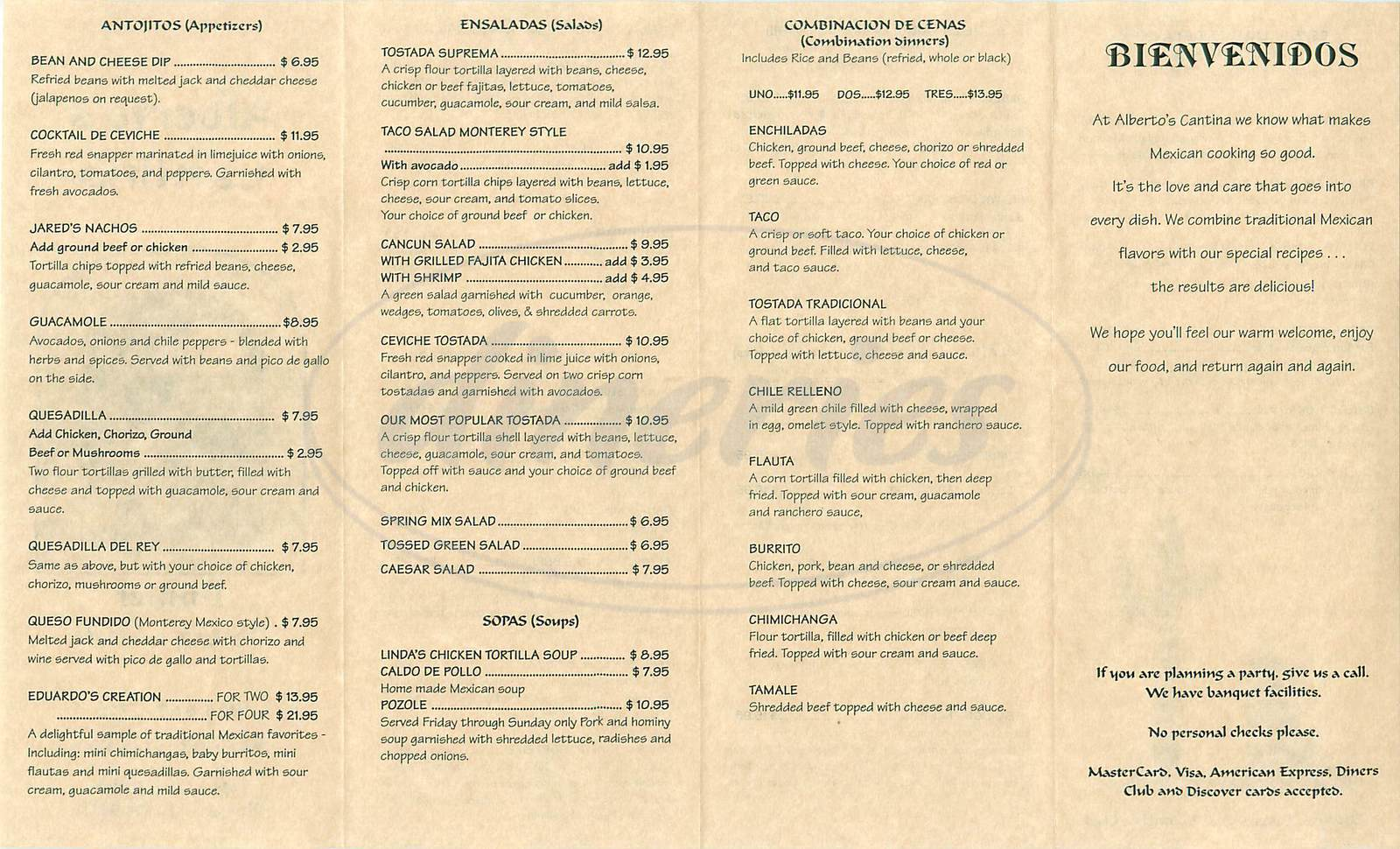 menu for Albertos Cantina