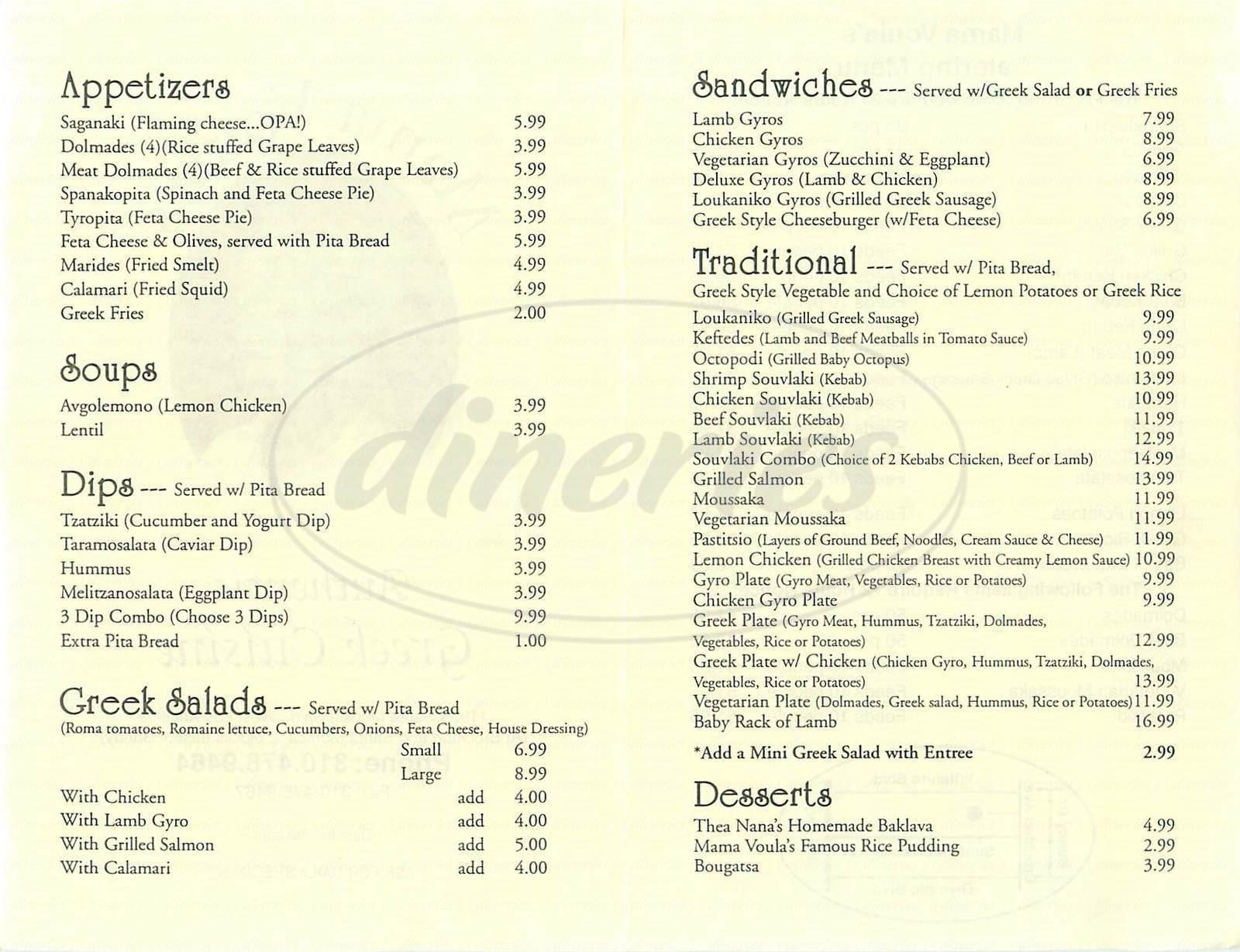 menu for Mama Voula's