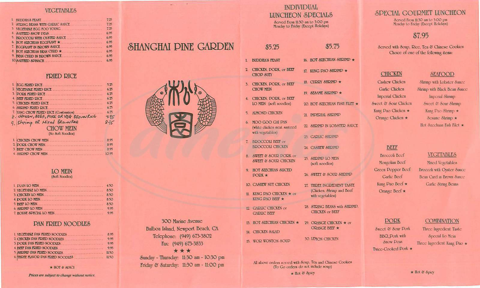 menu for Shanghai Pine Garden
