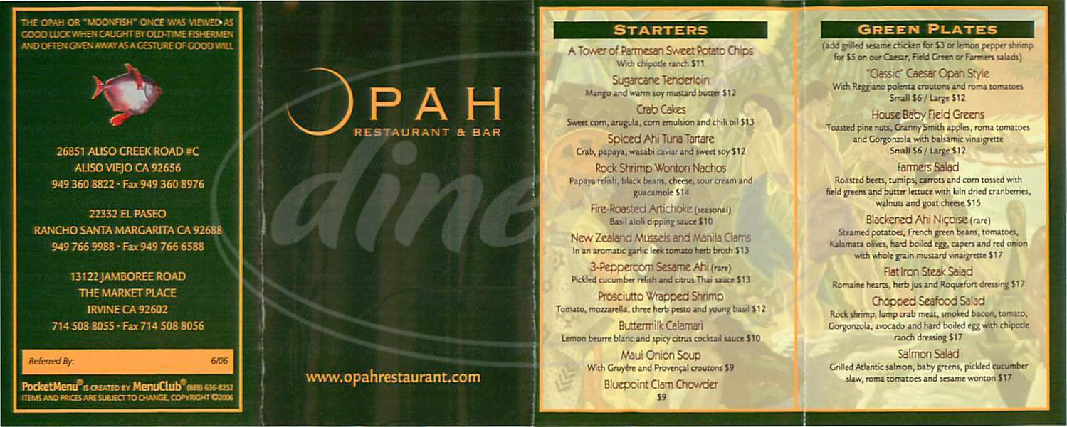 menu for Opah