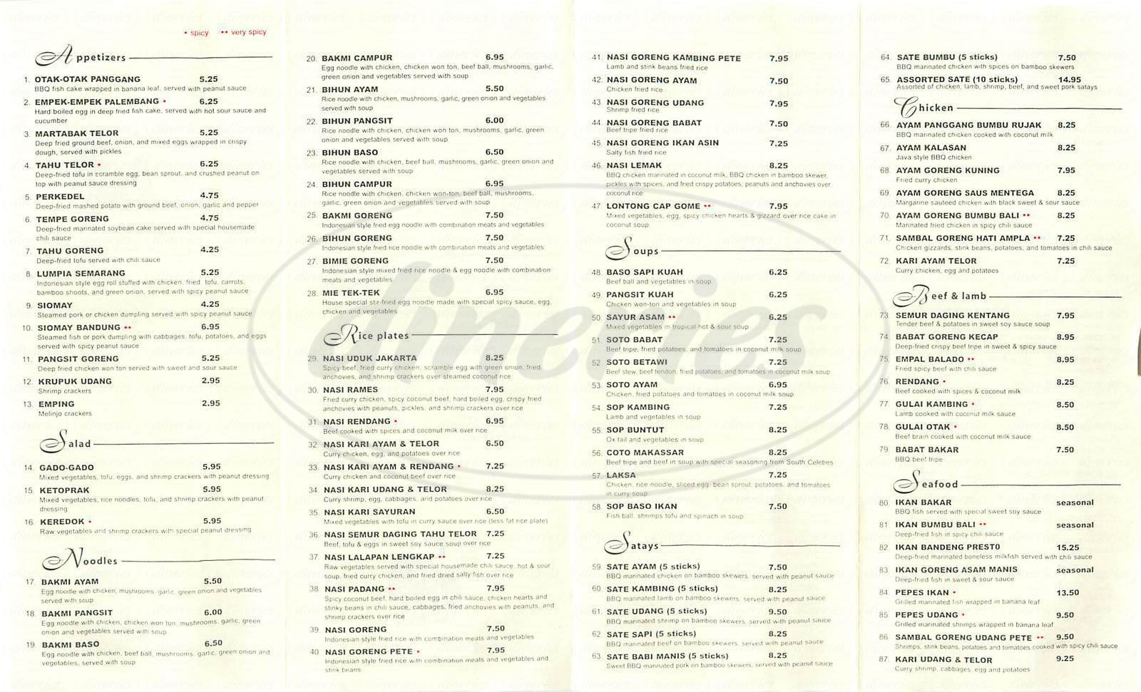 menu for Indonesia Restaurant