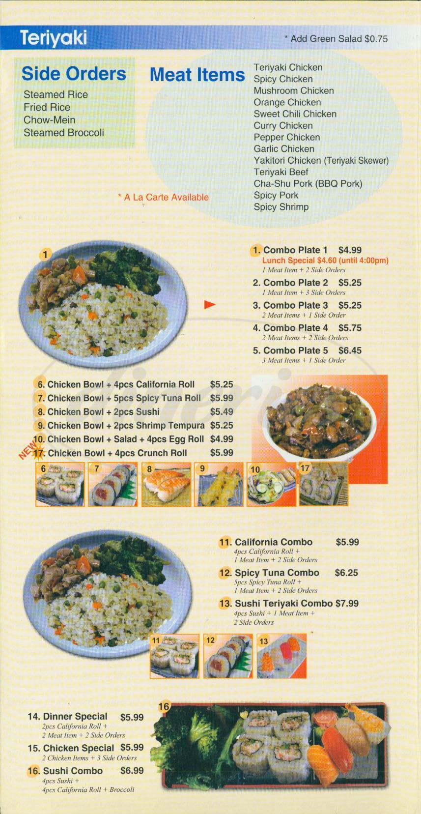 menu for New Tokyo