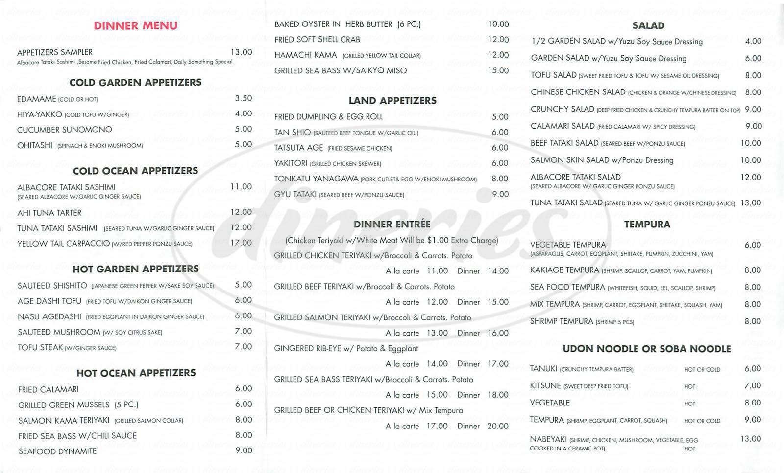 menu for En Sushi