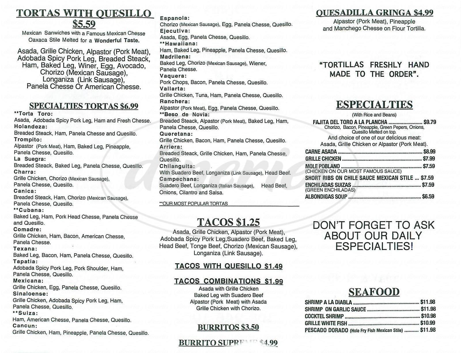menu for Torteria del Toro