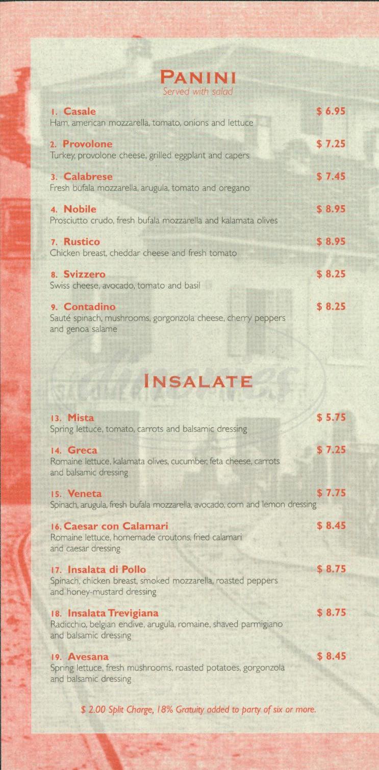 menu for Fabiolus Café