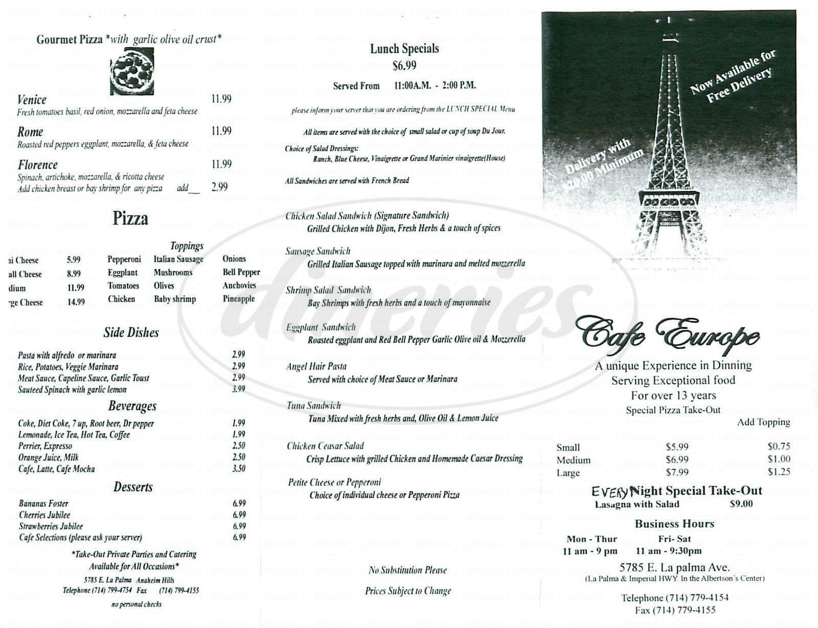menu for Café Europe