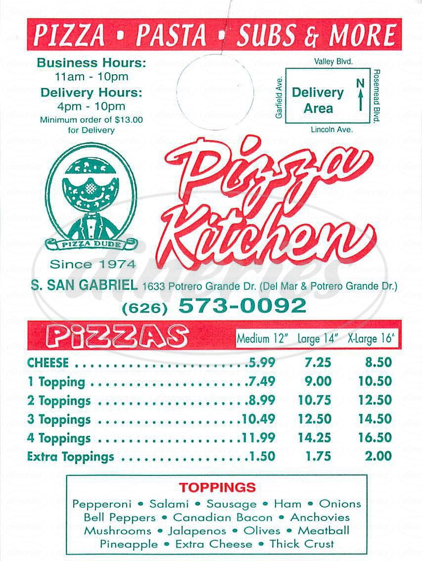 menu for Pizza Kitchen