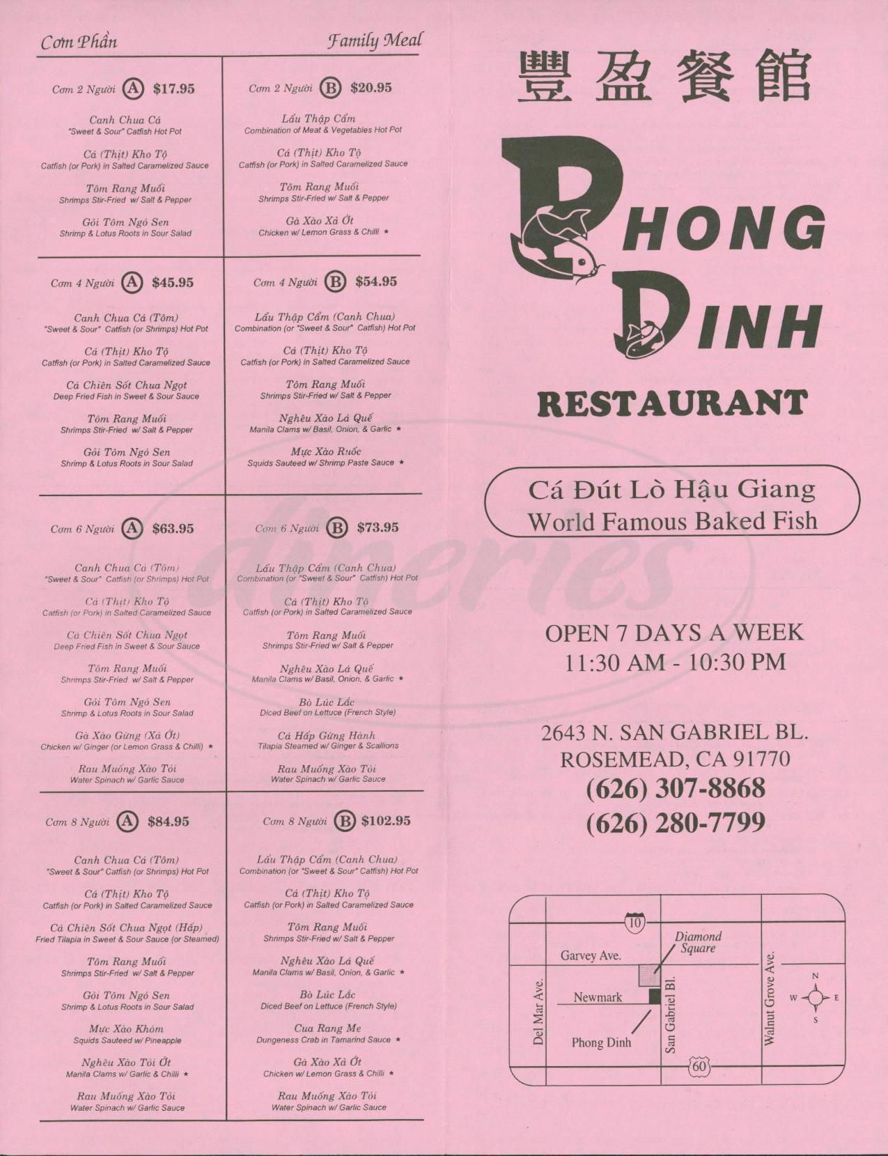 menu for Phong Dinh