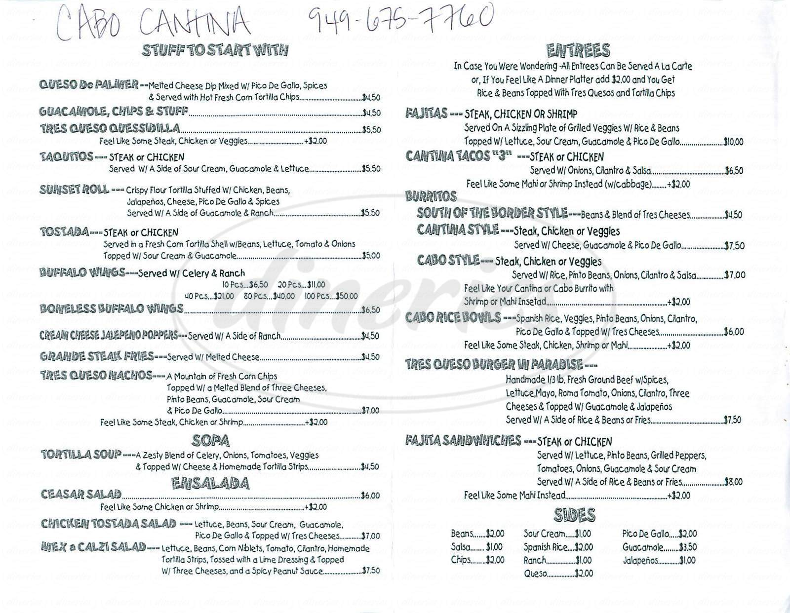 menu for Cabo Cantina
