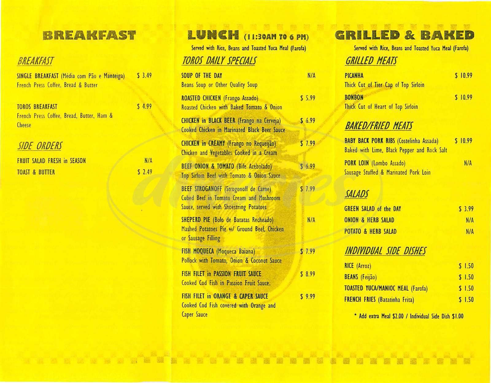 menu for Cafe Toros