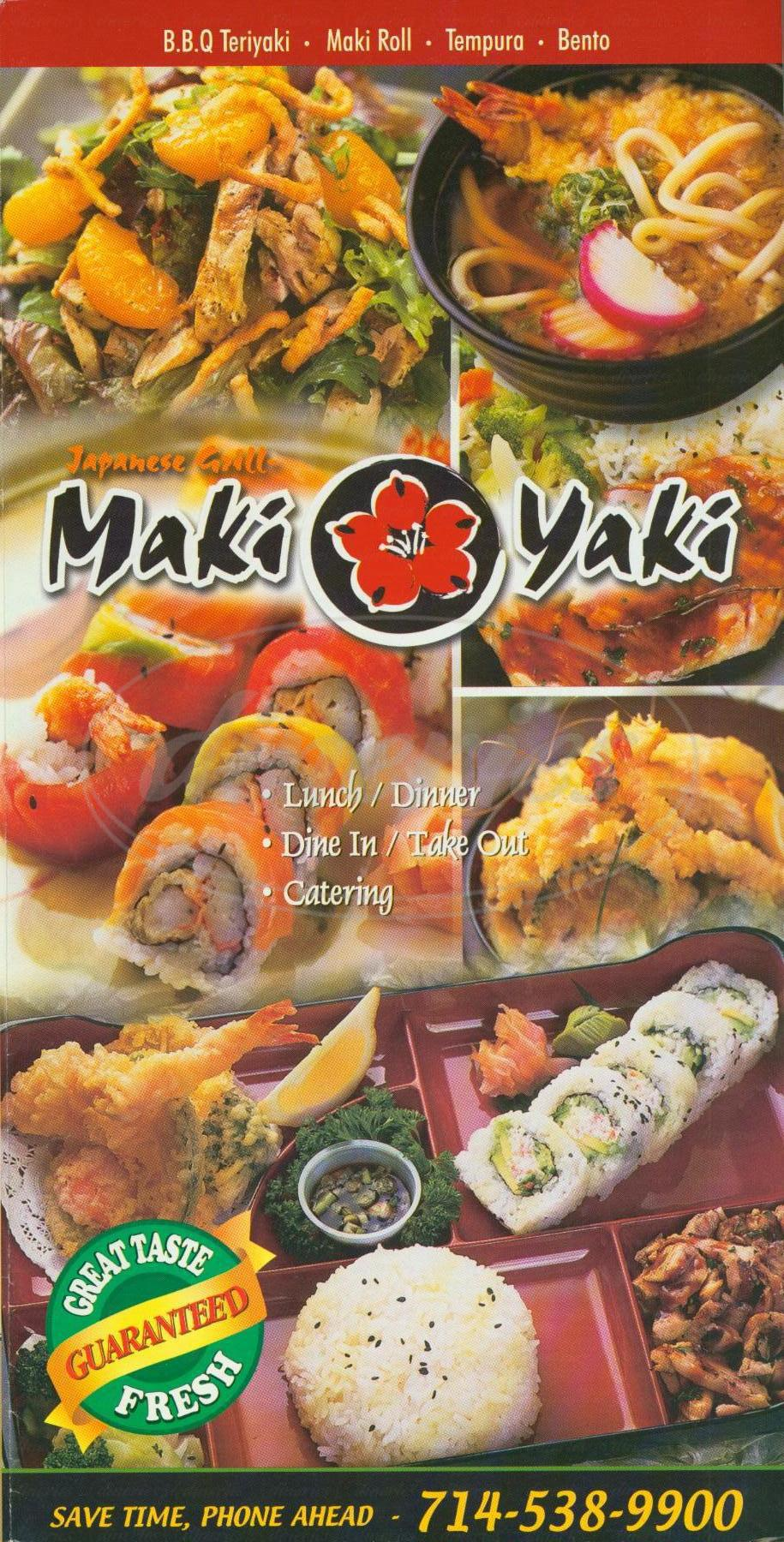 menu for Maki Yaki