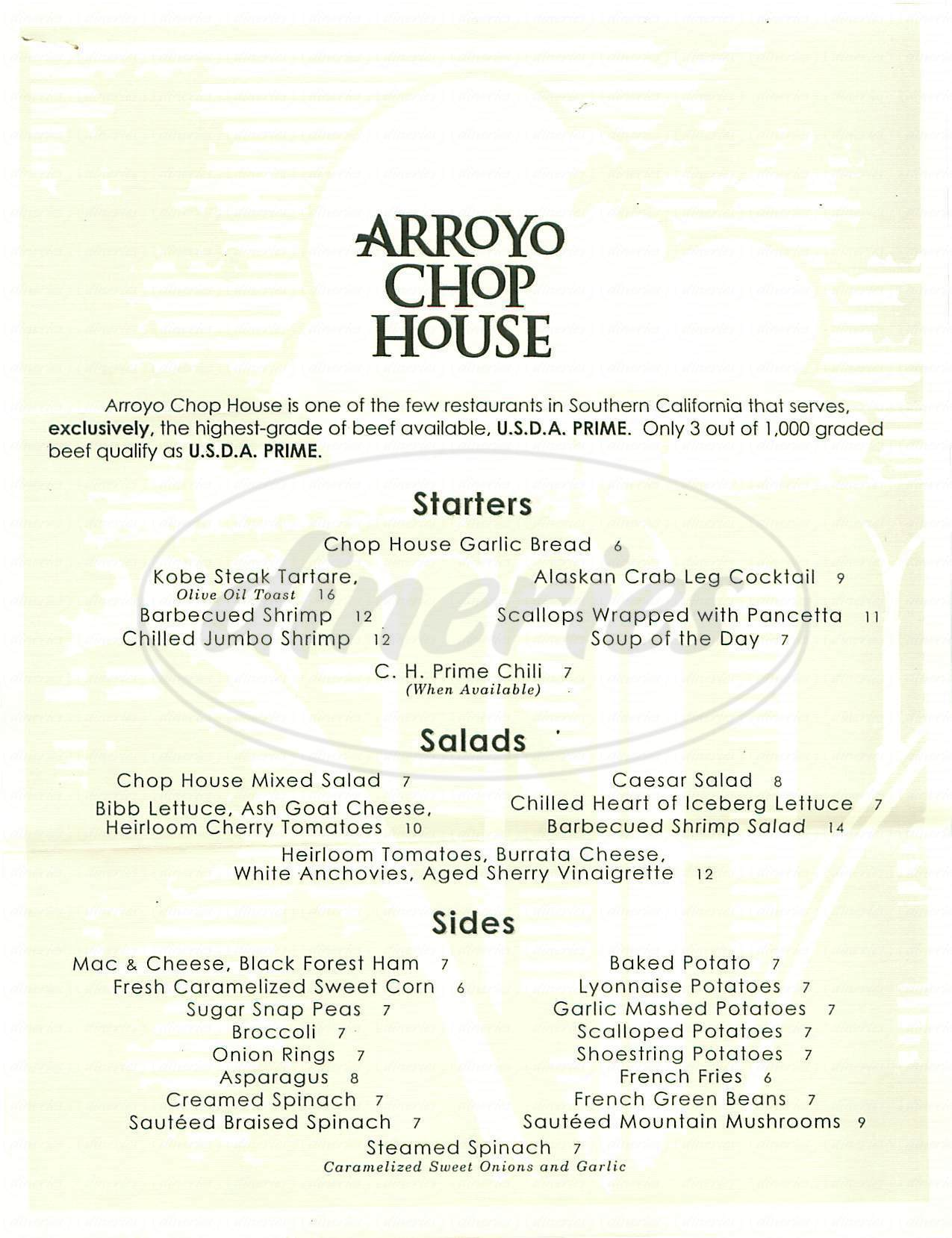 menu for Arroyo Chop House