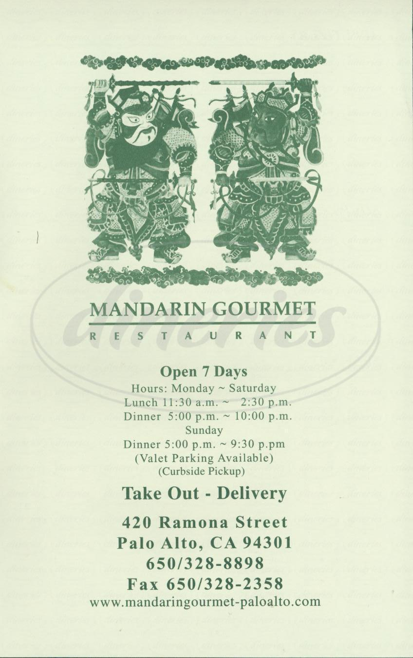 menu for Mandarin Gourmet