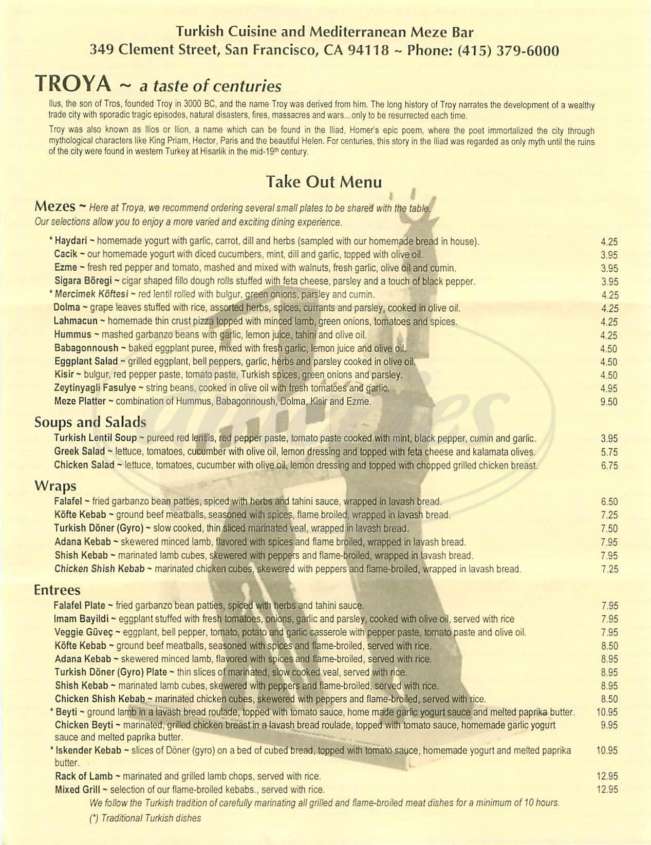 menu for Café Troya
