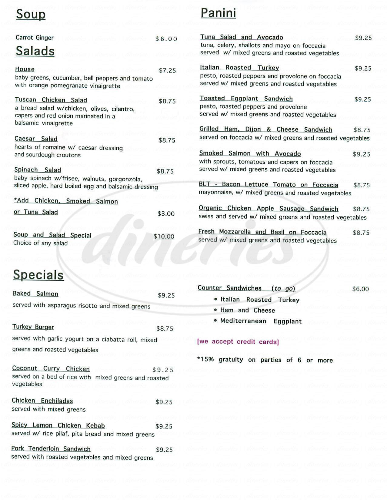 menu for Café Destijl