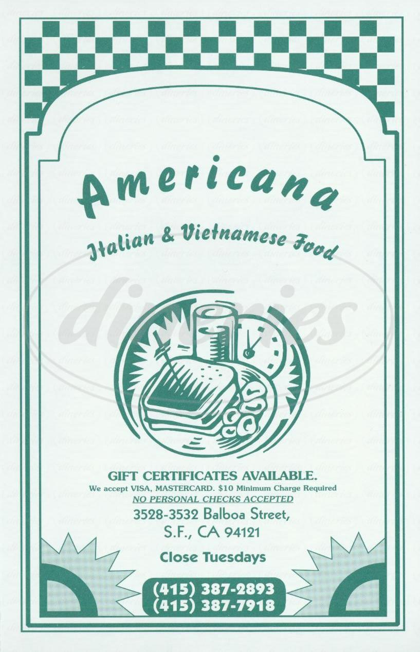 Big menu for Americana, San Francisco