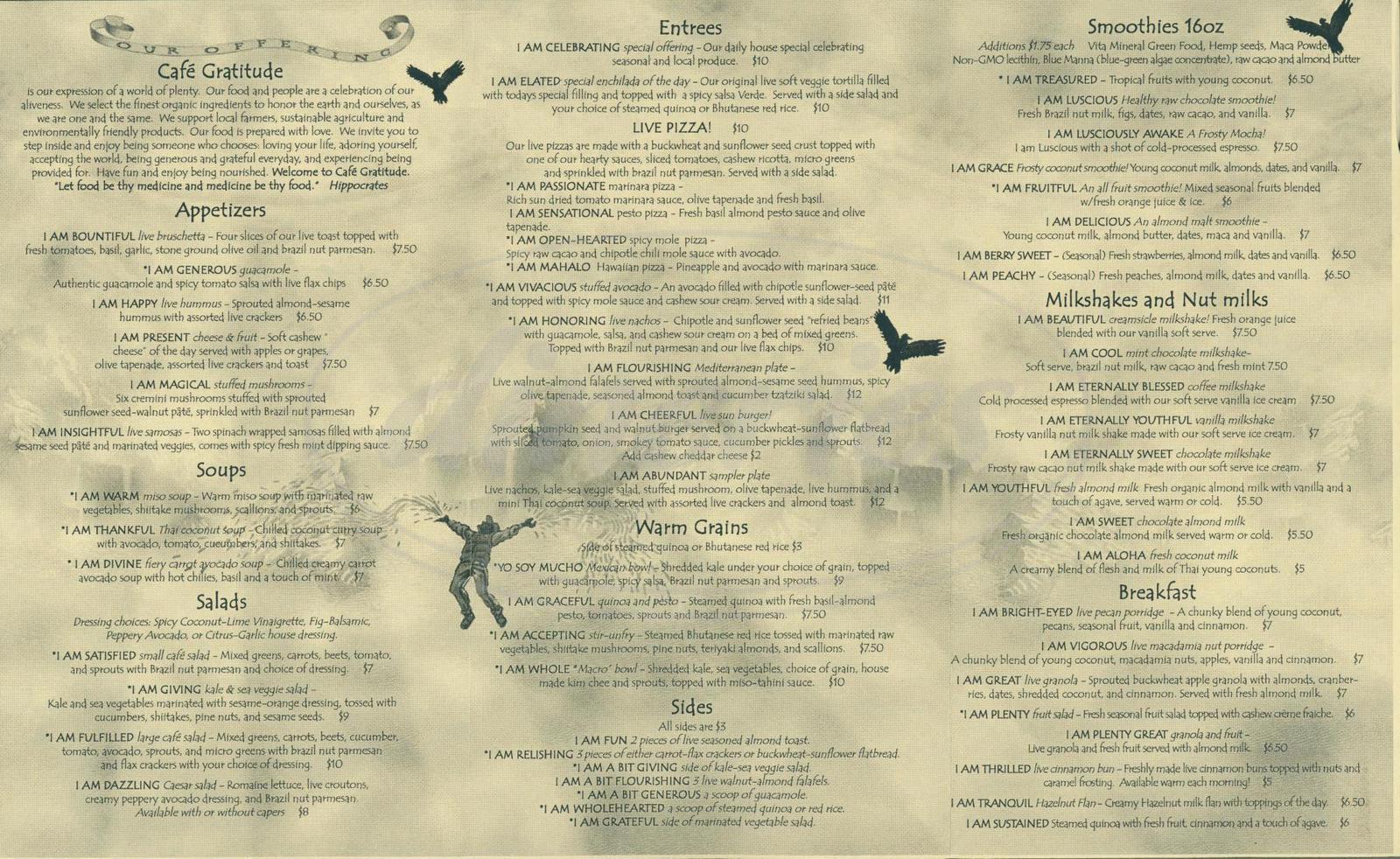 menu for Café Gratitude