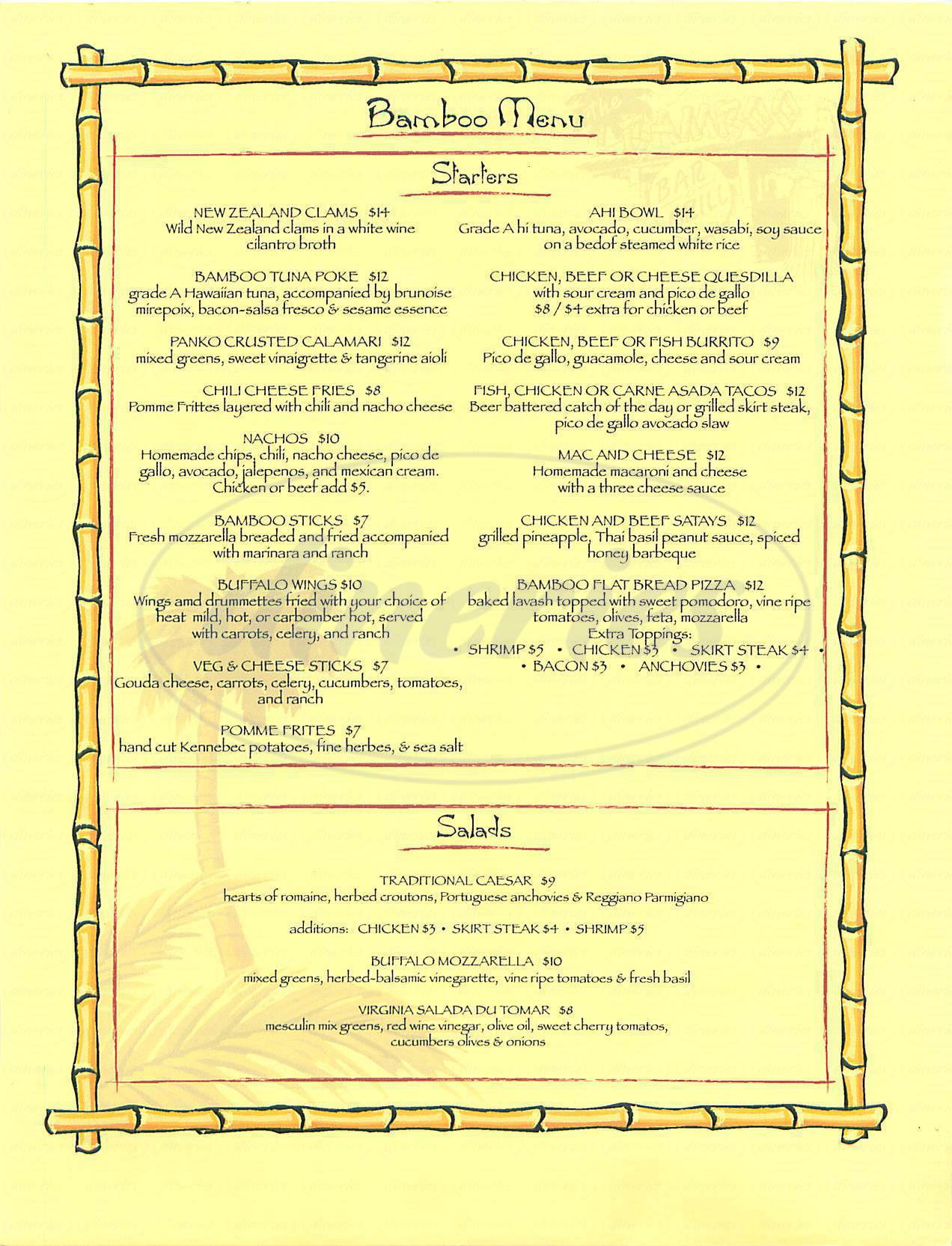menu for Bamboo Bar and Grill