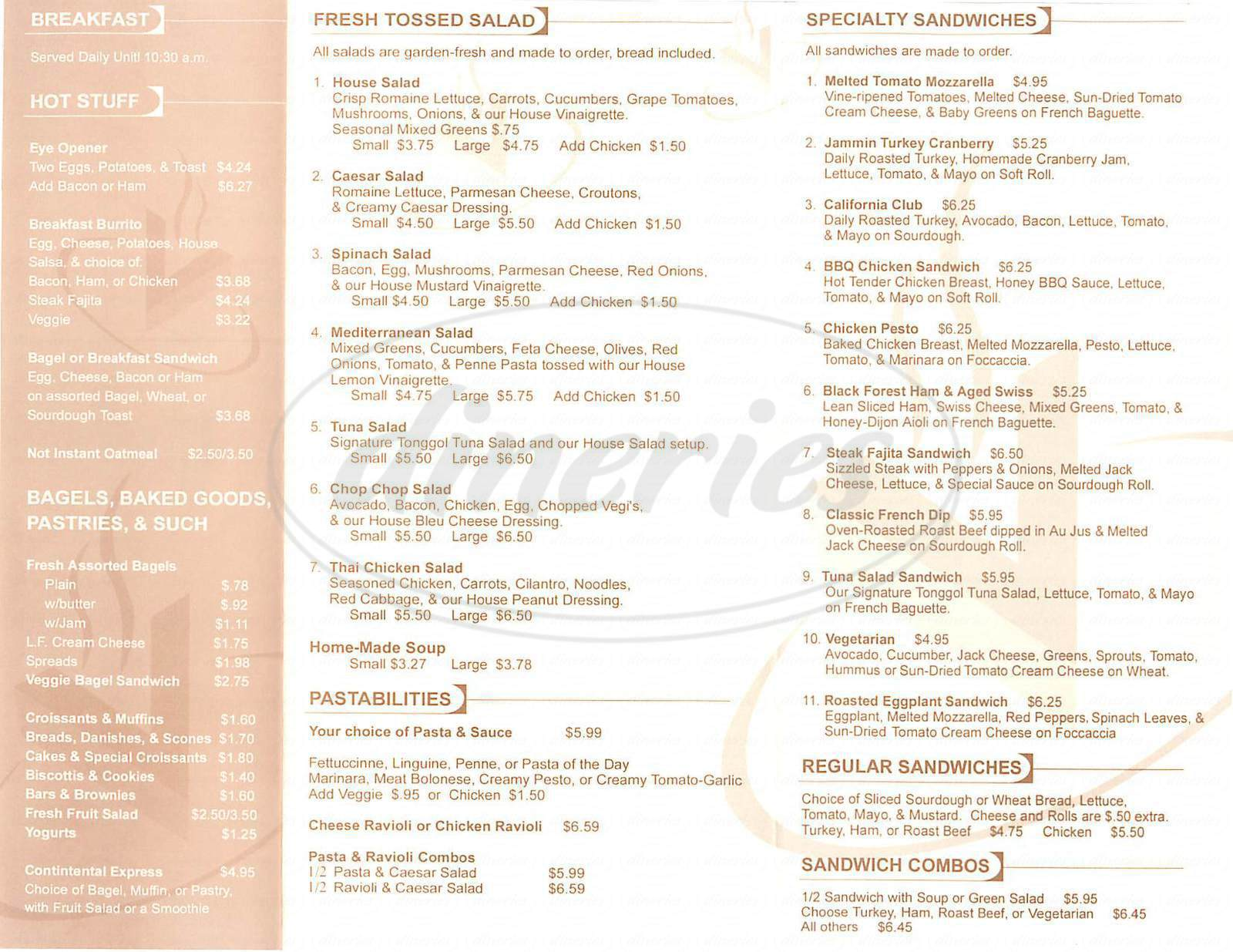 menu for Café Venue