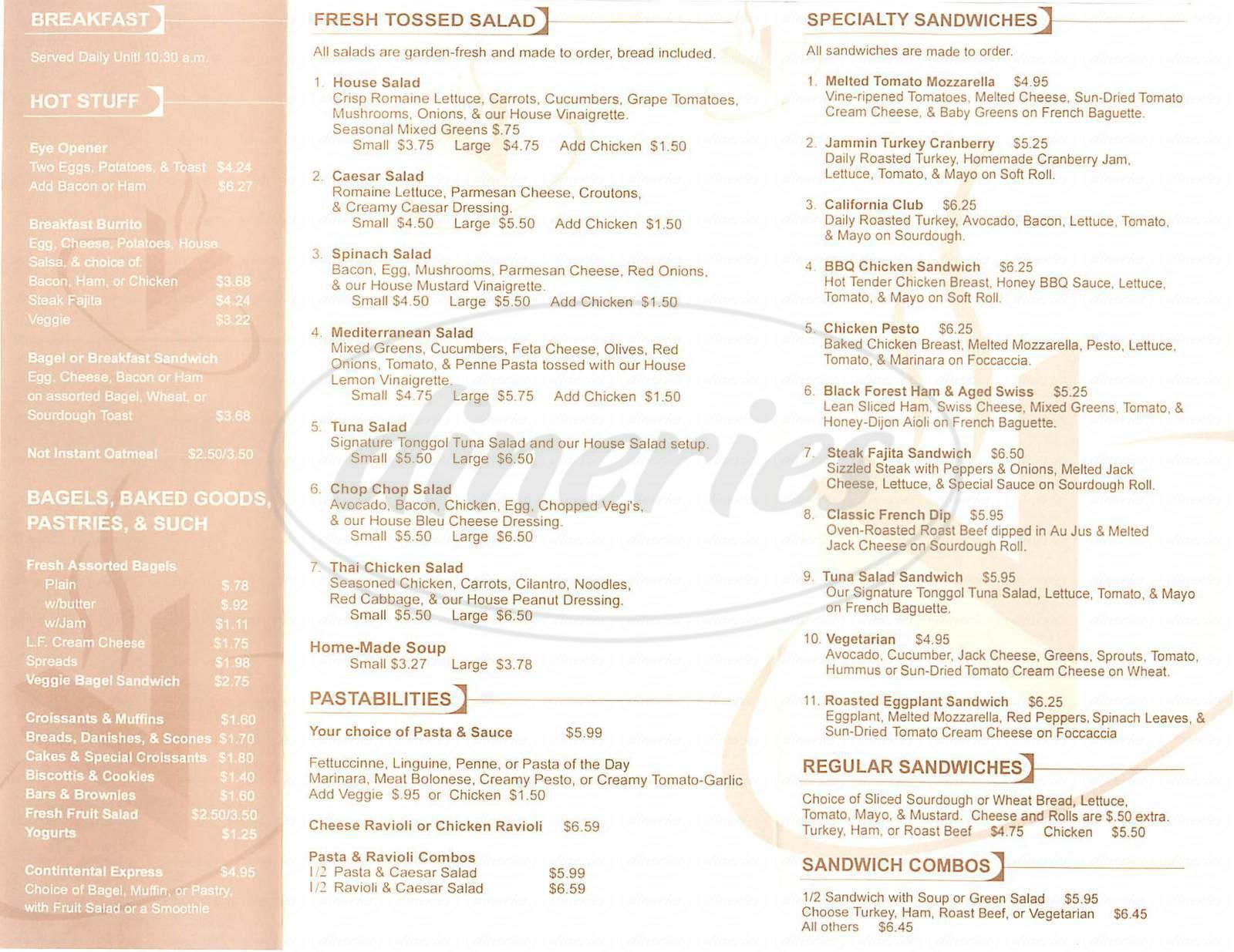 menu for Café Venue