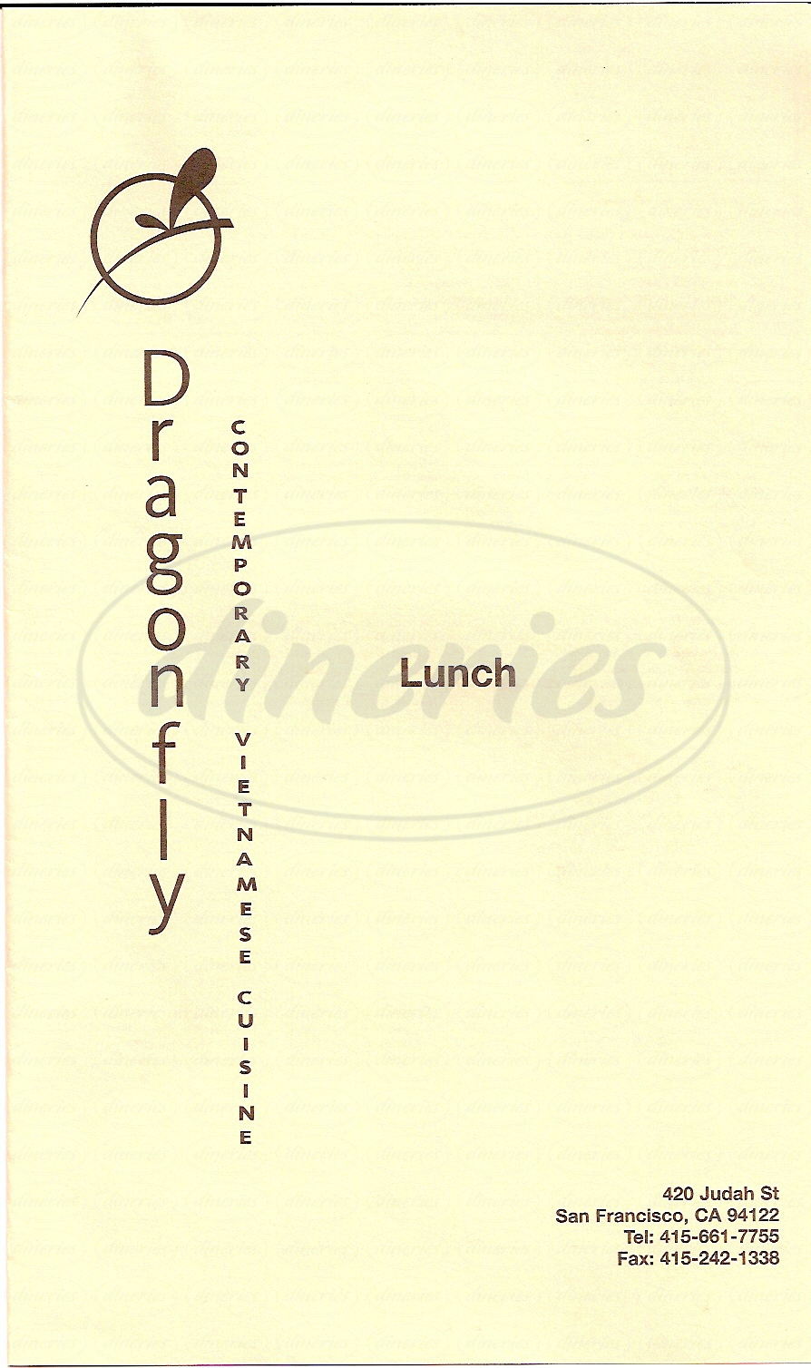 menu for Dragonfly Restaurants