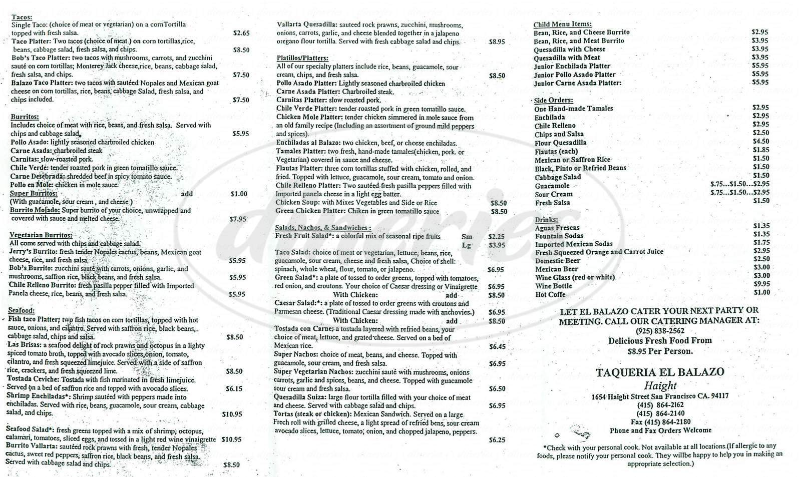 menu for El Balazo
