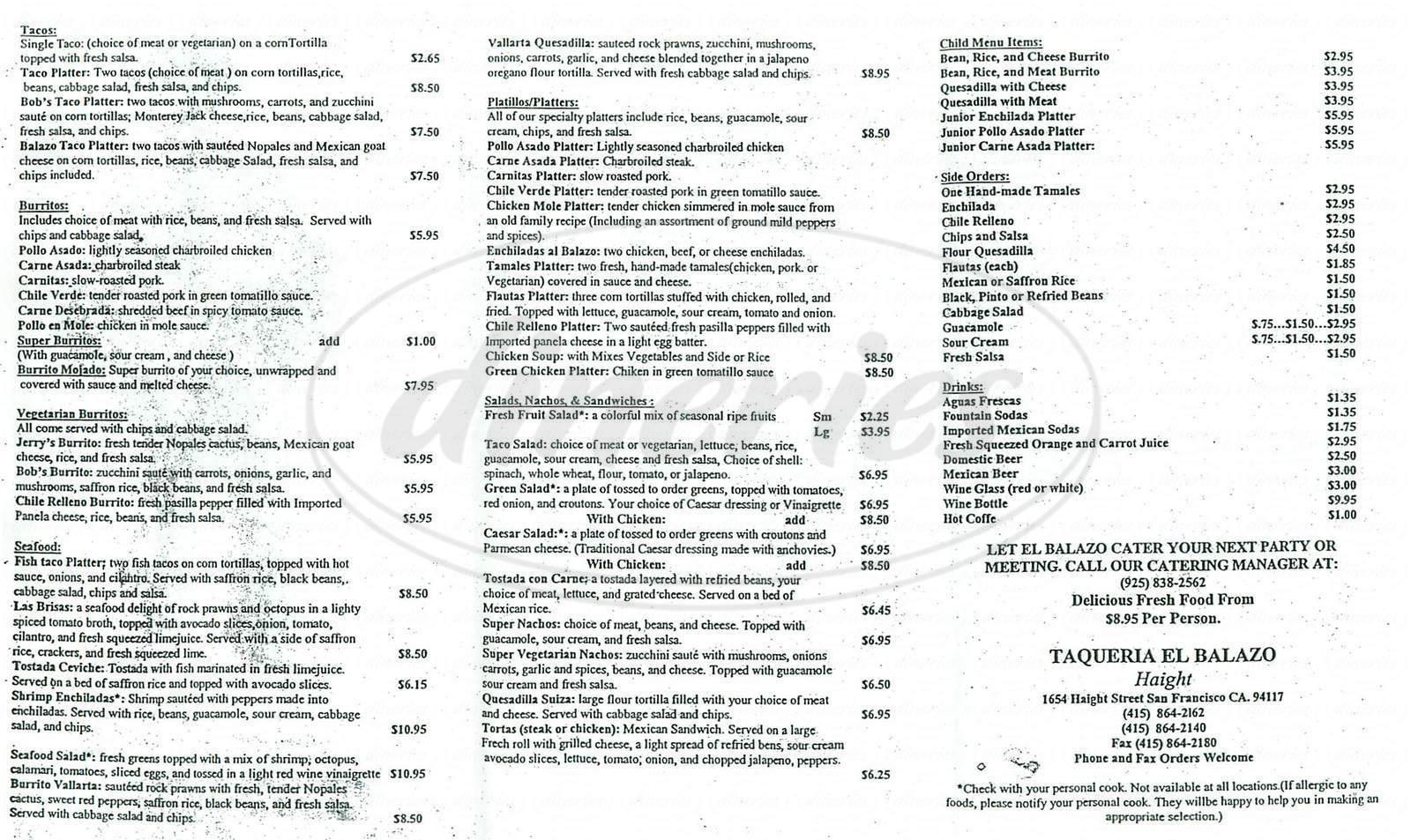 menu for El Balazo