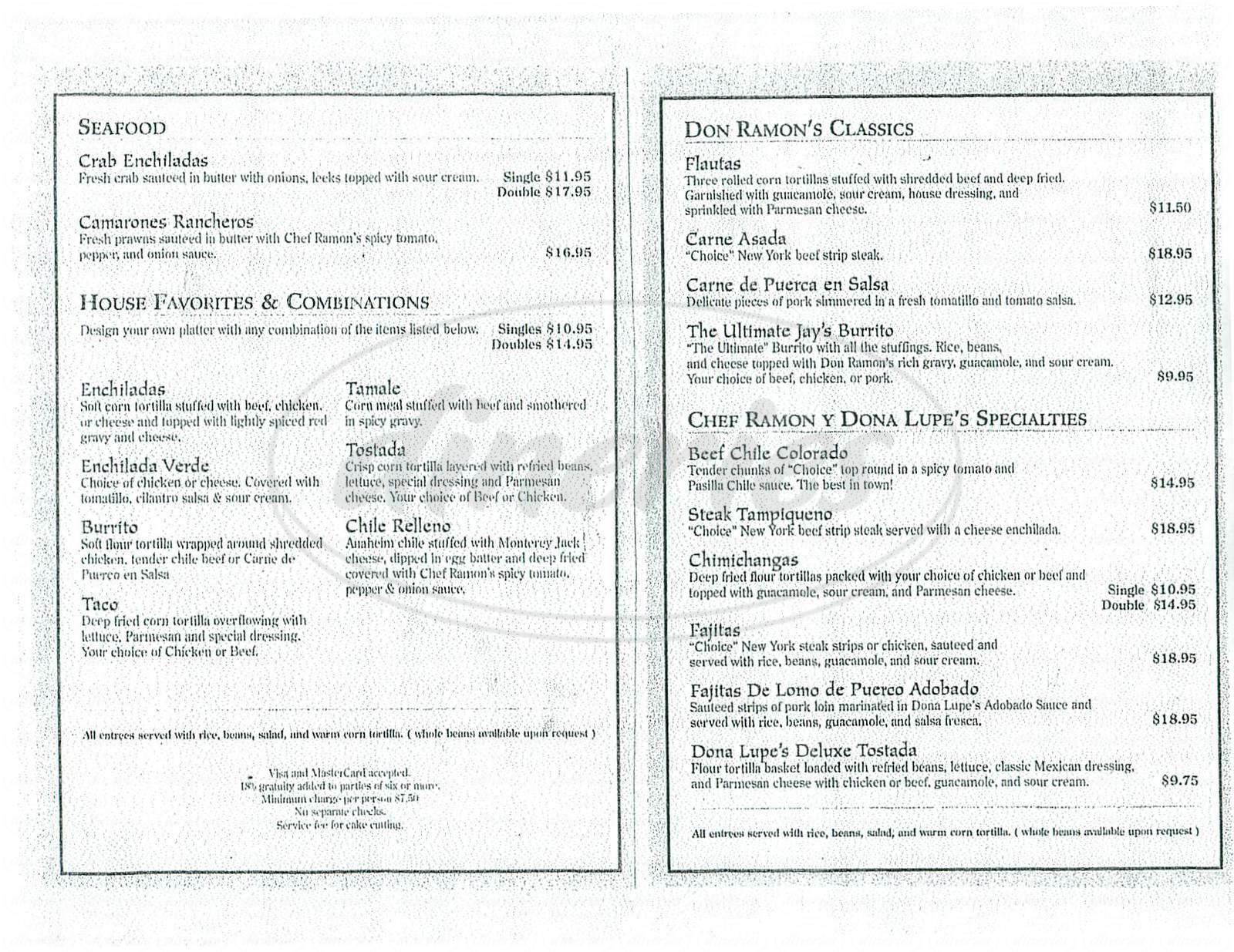 menu for Don Ramon's