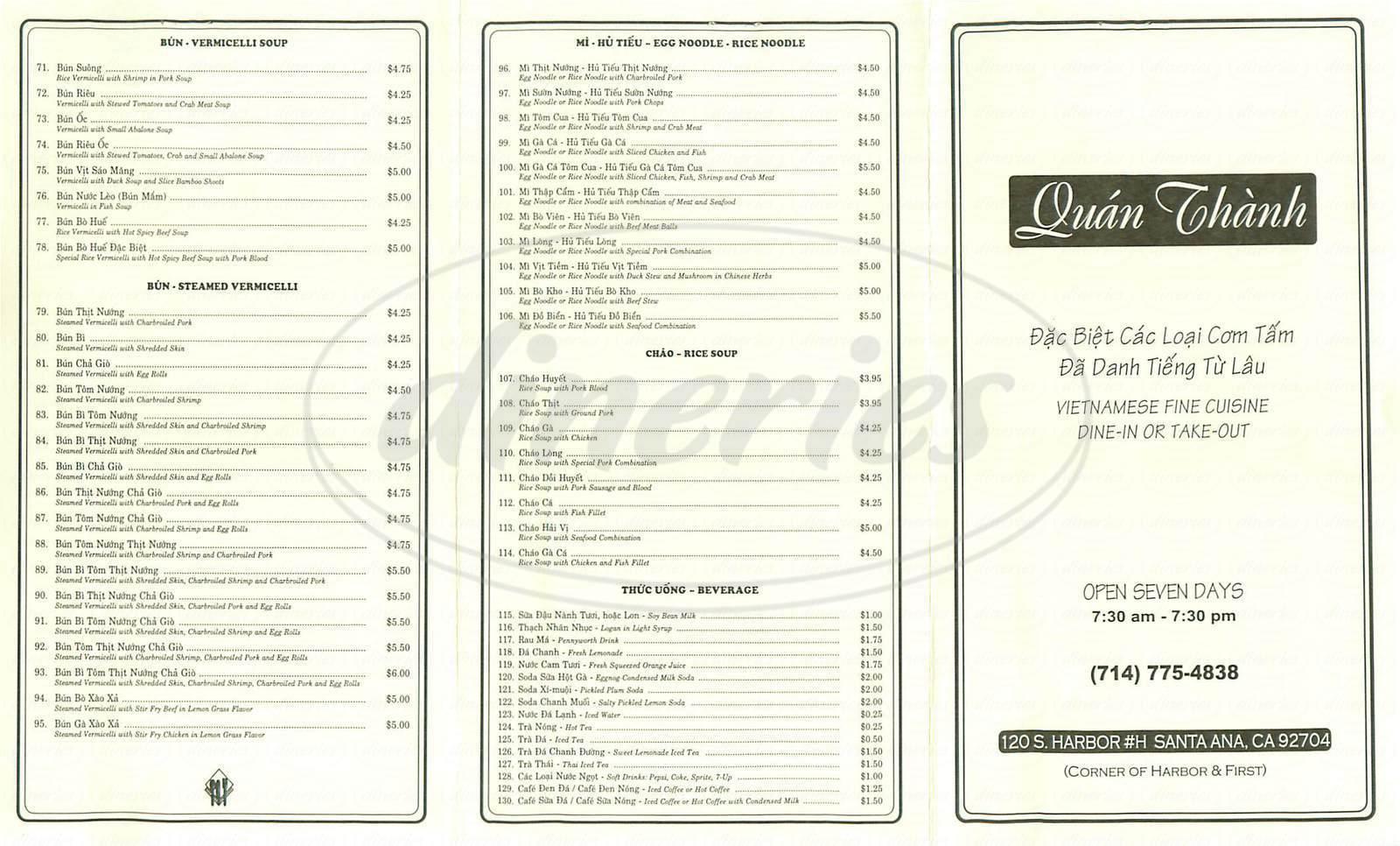 menu for Quan Thanh