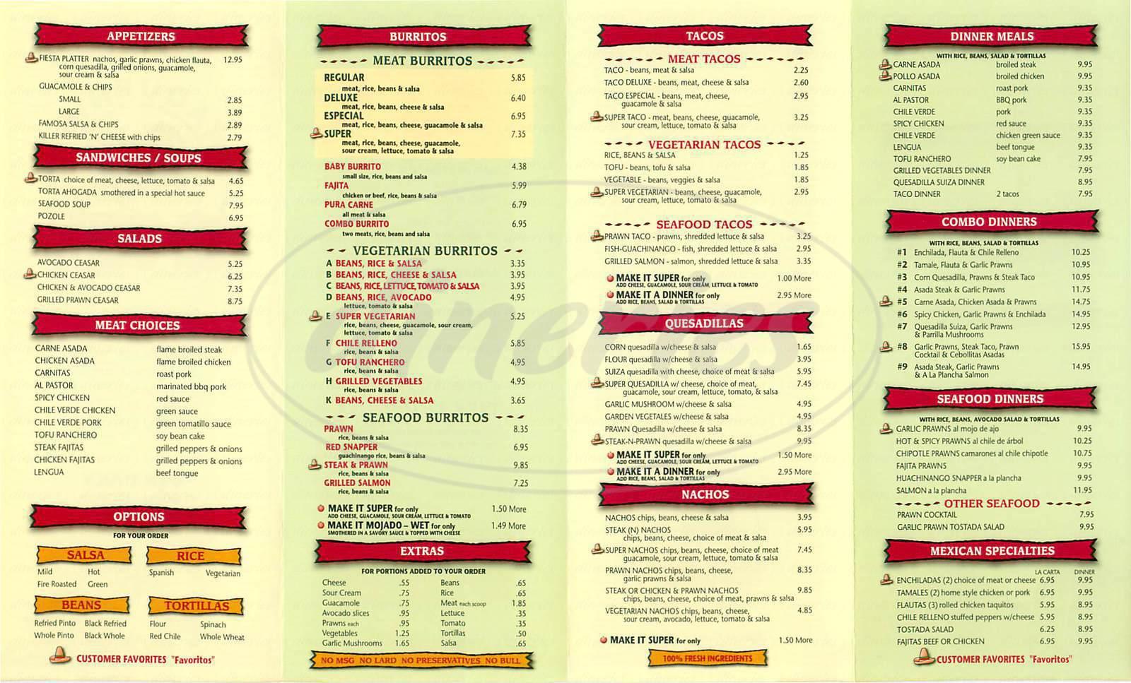 menu for El Toro Taqueria