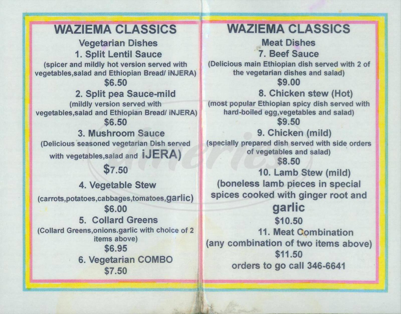 menu for Club Waziema