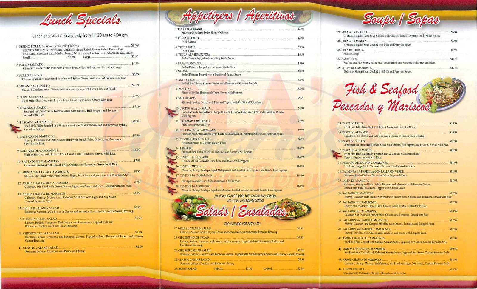 menu for Lola's Peruvian Restaurant