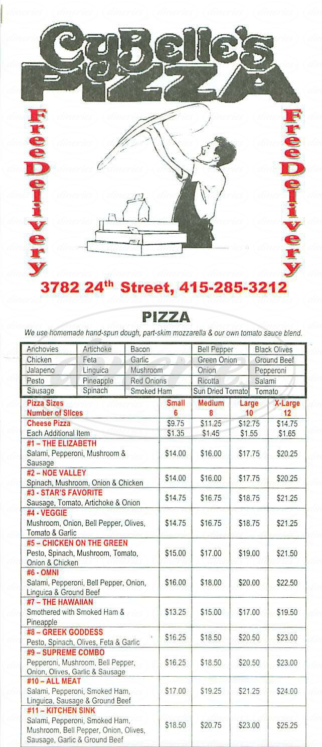 menu for Cybelles Pizza