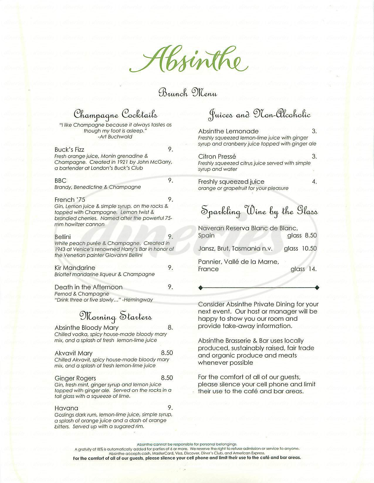 menu for Absinthe Brasserie & Bar